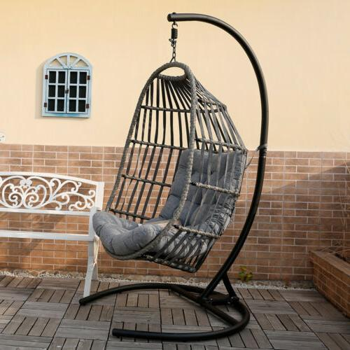 Outdoor Hanging Egg Swing Chair w/ Stand Porch Cushions