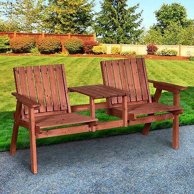 outdoor patio wooden double chair garden bench