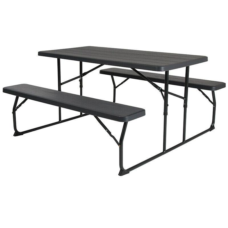 Outdoor Picnic Plastic Folding Table & Benches Set in Charco