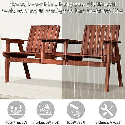 Outsunny Outdoor Wooden Double Chair with Middle Coffee