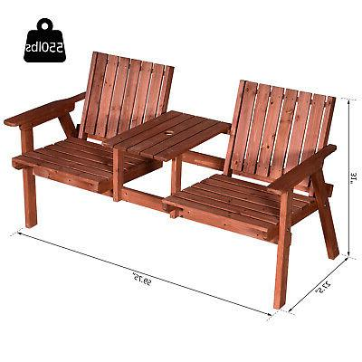 Outsunny Double Garden Bench with Table