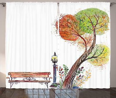 park bench curtains 2 panel set decoration