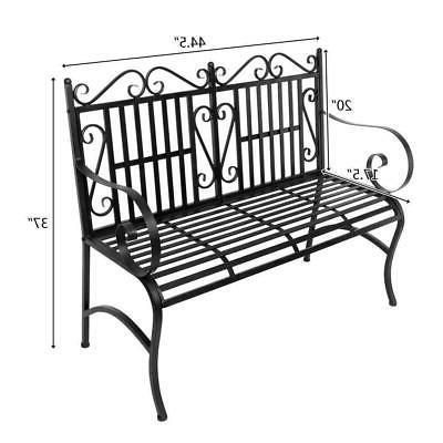 Patio Park Bench Path Outdoor Deck Steel Furniture