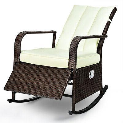 Patio Wicker Rocking Chair Porch Garden Lawn Deck Auto Adjus