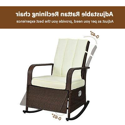 Patio Wicker Rocking Chair Porch Lawn Adjustable Reclining