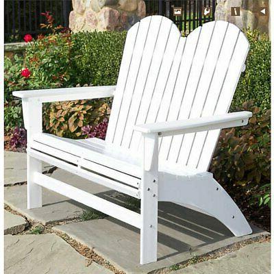 portside double adirondack bench by patio garden