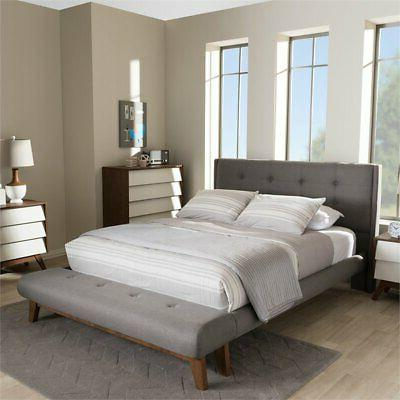 Baxton Reena Queen Bed Bench in Gray