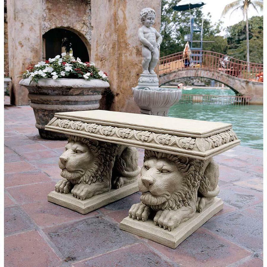 "Art Deco Classic Grand Lions of St. John's Square 15"" Sculptural Bench"