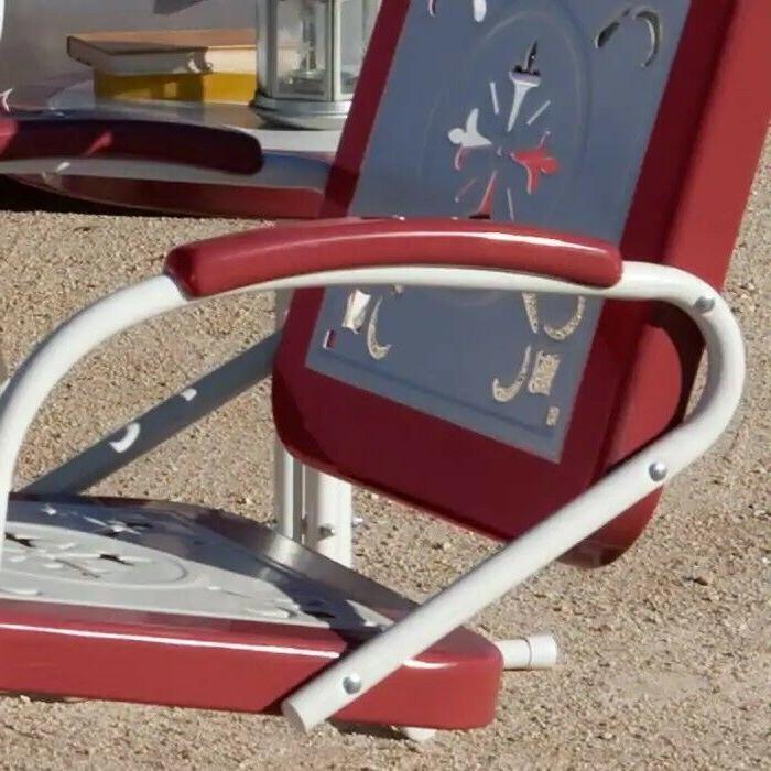 Retro Metal Chair Porch Outdoor Vintage Patio Garden