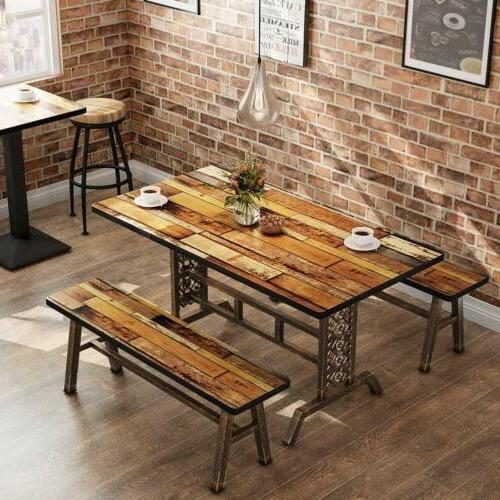 rustic antique bronze 3 pieces dining set