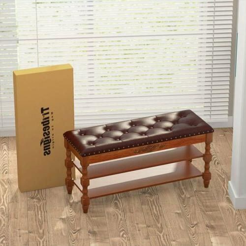 Tribesigns Shoe Solid Wood Vintage Rack with Top