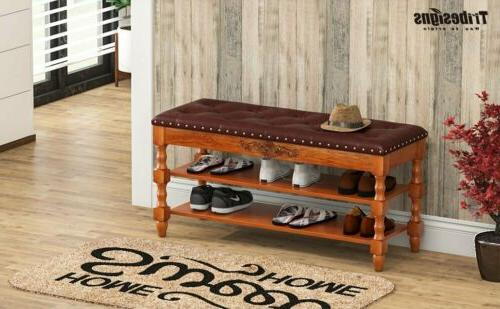 Tribesigns Wood Vintage Shoe Rack Lift Top
