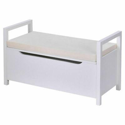 Shoe Storage Cushion Seat Ottoman Hallway White