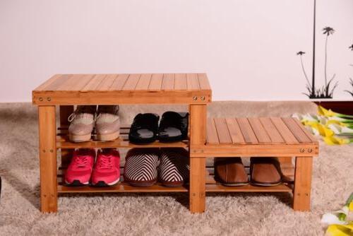Shoe Benches Entryway Rack Shelf Boot Organizer Bamboo Hallway