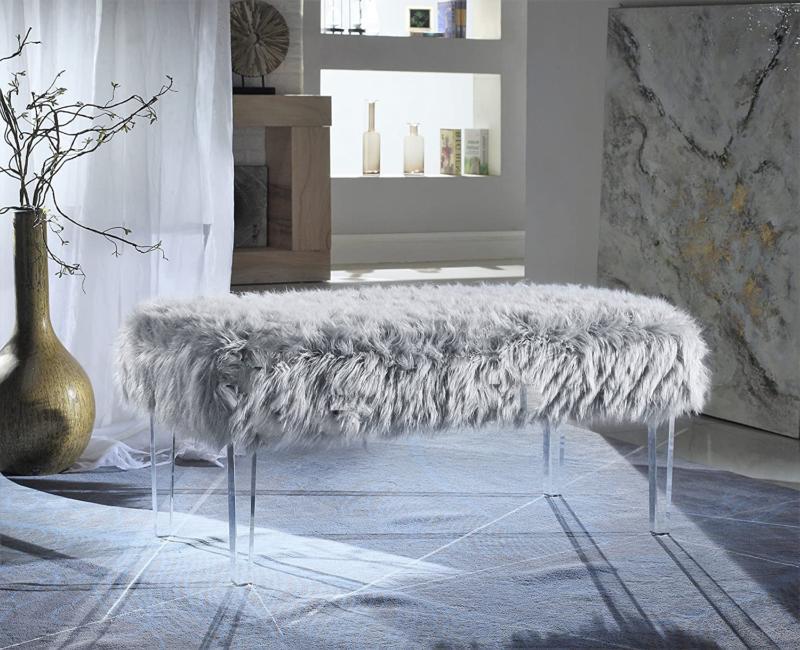 trento modern contemporary faux fur acrylic leg