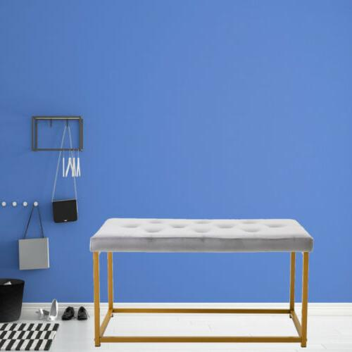 Upholstered Crushed Velvet Chenille Window Bedroom Bench