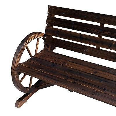 Outsunny Wooden Wagon Wheel Bench Rustic Outdoor