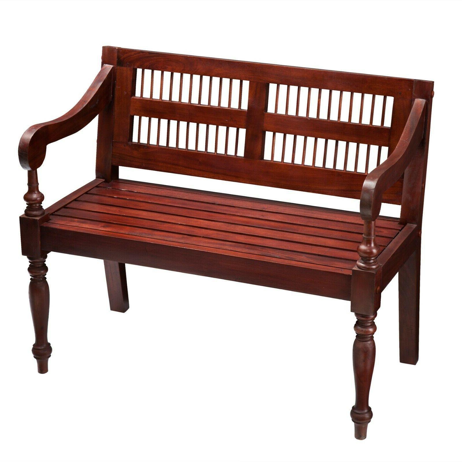 Wooden Indoor Mahogany Finish Seat Traditional Entryway