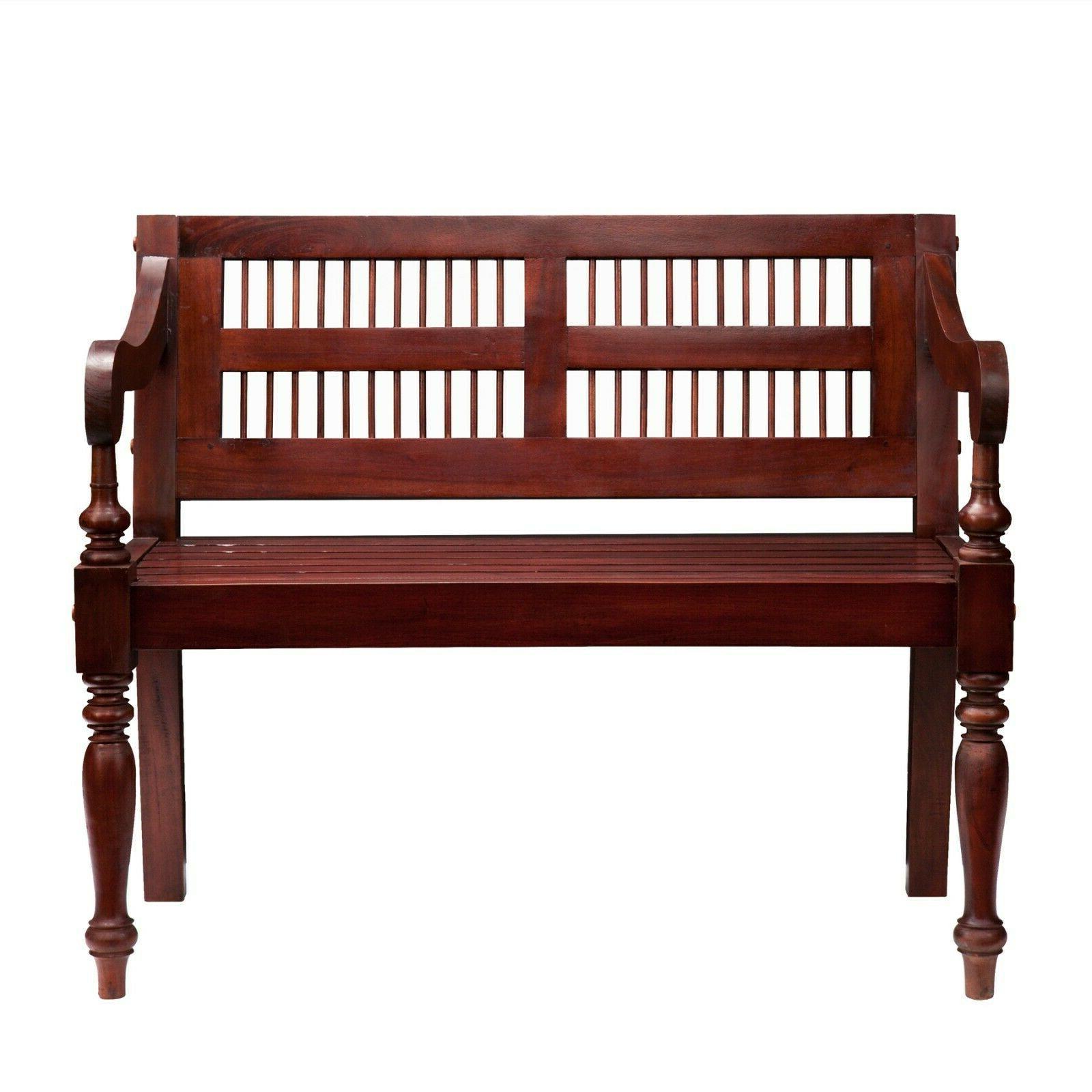 Wooden Mahogany Finish Wood Seat Traditional Entryway New