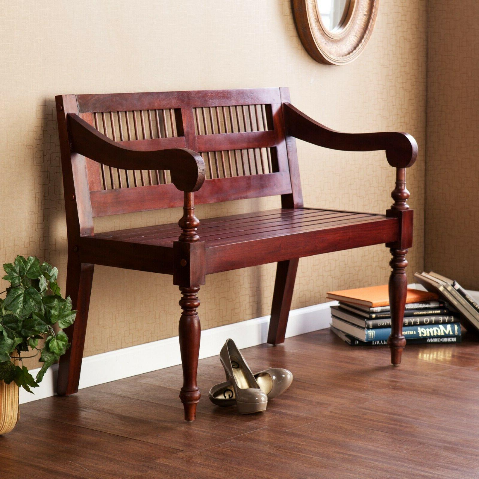 wooden indoor bench mahogany finish wood seat