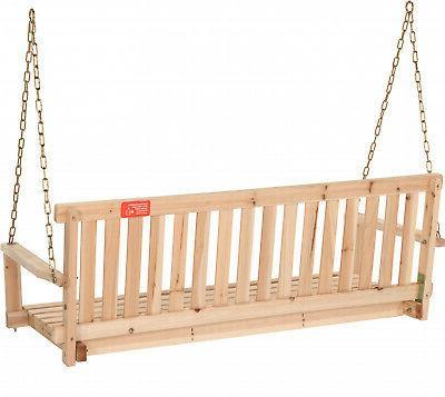 Wooden Swing 4ft Natural Wood Patio Bench Hanging Garden