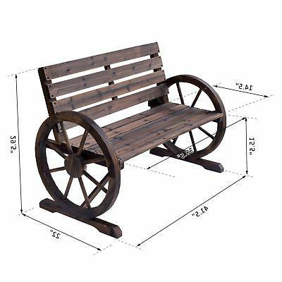 Outsunny Wooden Wagon Bench Garden Outdoor Park