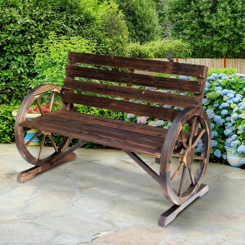 wooden wagon wheel bench garden loveseat rustic