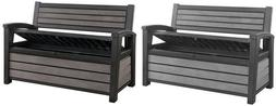 Keter Large Deck Box Storage Bench Outdoor Patio Pool 60 Gal