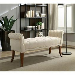 Linon Laurel Wood Upholstered Roll Arm Bench in Beige