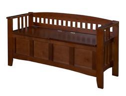Linon Home Decor Storage Bench with Short Split Seat Storage