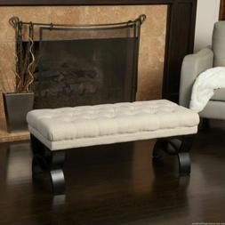 Colette Contemporary Button Tufted Light Beige Fabric Ottoma