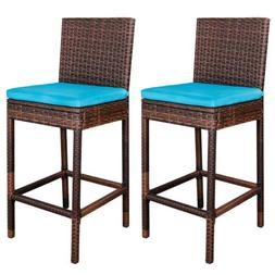 Long-lasting Wicker Barstool Aluminum Frame Outdoor Chairs W