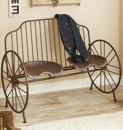 Metal Bench Tractor Seats Wheels Farmhouse Rustic Primitive