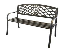 Metal Flower Bouquet Park Bench - Cast Iron Bench for Yard o