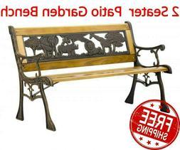 Garden Bench Metal Wood Patio Outdoor Chair Porch Furniture