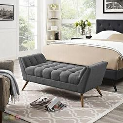 Mid-Century Modern Response Contemporary Button-Tufted Bench