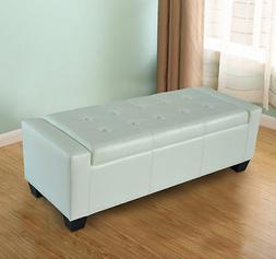 Homcom Modern Faux Leather Ottoman Footrest Sofa Shoe Storag