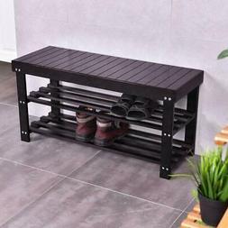 Modern Shoe Bench Entryway Storage Bamboo Coffee Shelf Rack
