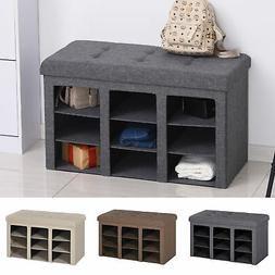 Multifunctional Storage Bench Ottoman Padded Seat for Bedroo