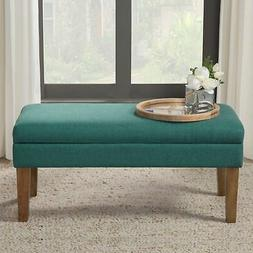 HomePop Modern Storage Bench with Hinged Lid, Teal