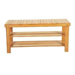 Natural Bamboo 2-Tier Shoe Bench Shoe Storage Racks Shelf Or