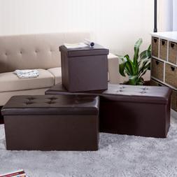 Folding Storage Ottoman Bench Faux Leather Storage Bench, Br