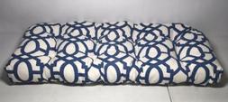 Pillow Perfect Nunu Geo Loveseat Cushion Blue & White, Weath