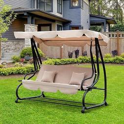 Outdoor 3-Person Patio Porch Swing Hammock Bench Canopy Love