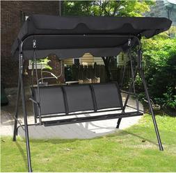 Outdoor 3-Person Swing Set Metal Bench Canopy Patio Porch Lo