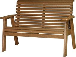 Outdoor 4 Foot Rollback Bench - Woodgrain Poly Lumber - Recy