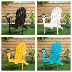 OUTDOOR ADIRONDACK CHAIR Patio Porch Chair Solid Wood Backre