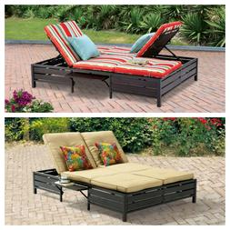 OUTDOOR DOUBLE CHAISE LOUNGE Adjustable Recliner Side Table