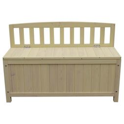 Outdoor Fir Wood Courtyard Bench with Storage Box