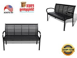"""Outdoor Garden Patio Black Bench Made of Steel and WPC 49"""""""""""
